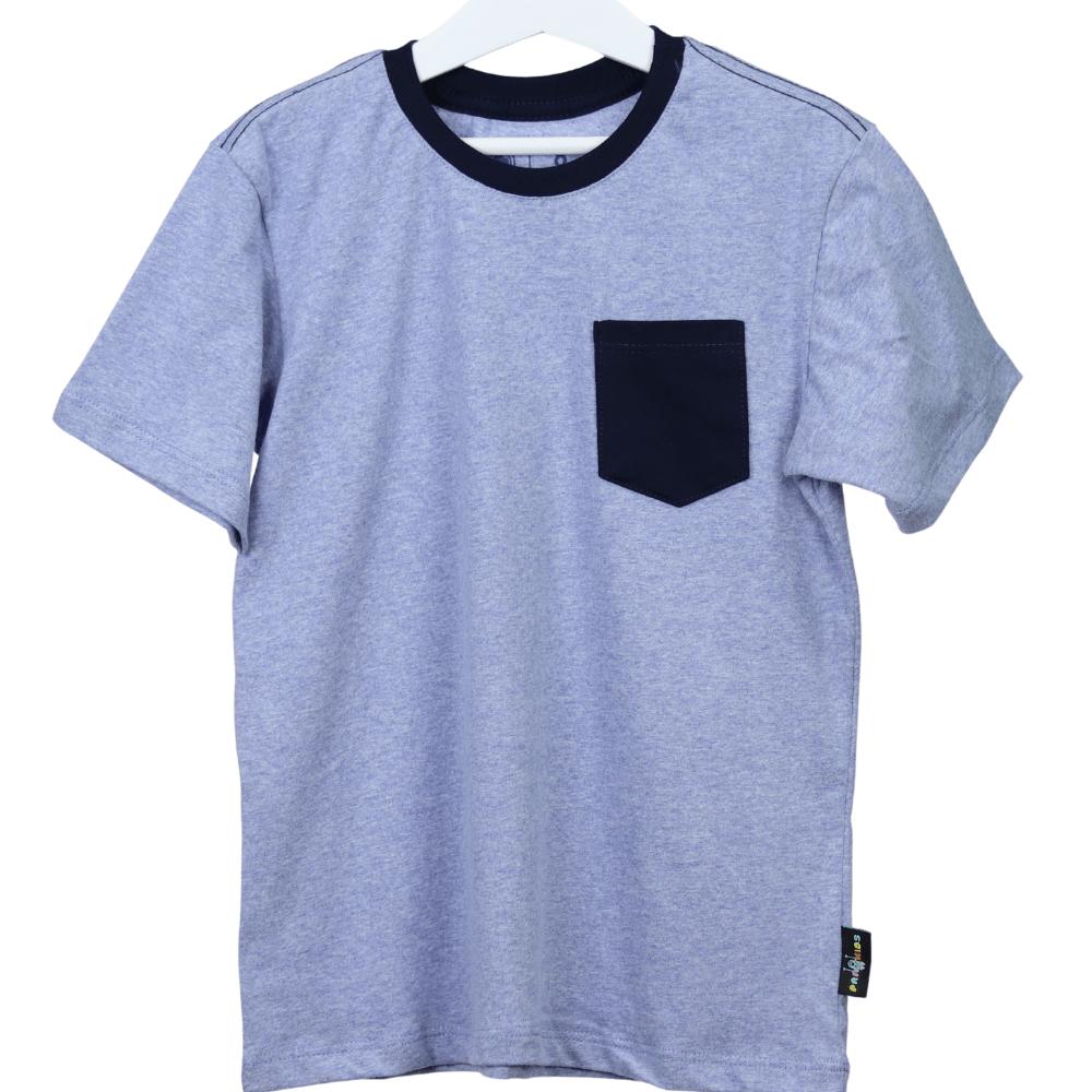 Camisa Infantil Azul Mescla com Bolso e Gola Azul Marinho