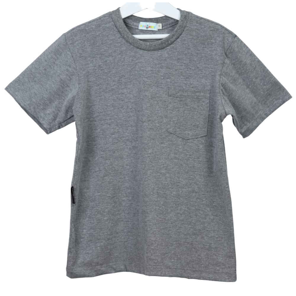 Camisa Infantil Cinza com Bolso