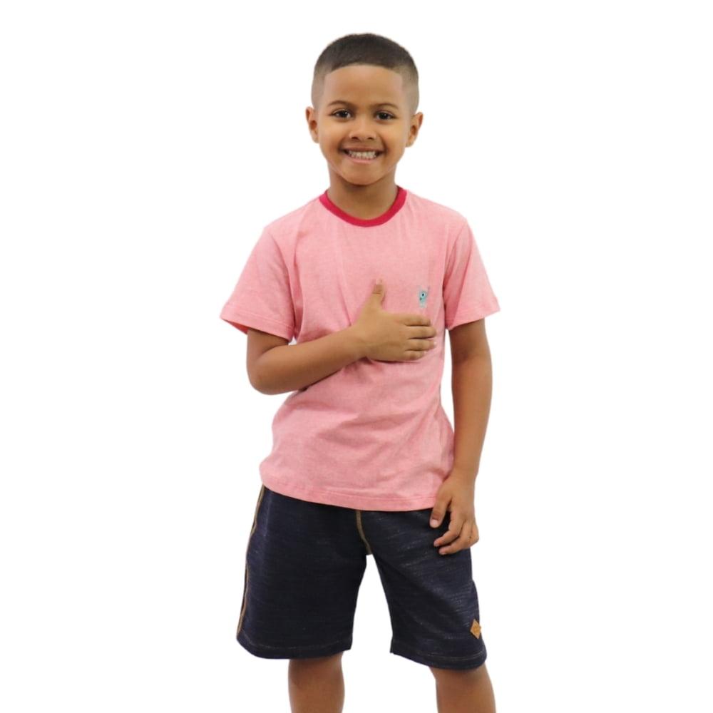 Camiseta Infantil Vermelha Mescla com Bordado do Banana