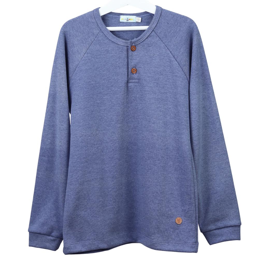 Camisa Infantil Manga Longa Azul