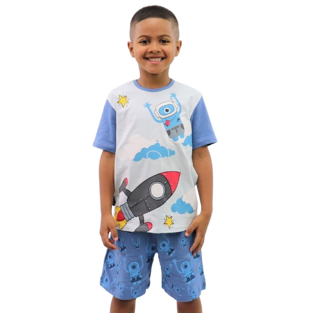 Pijama Infantil Masculino Estampa Foguete Mascote Banana