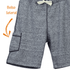 Bermuda Infantil Moletom Cinza Claro com Bolso Lateral