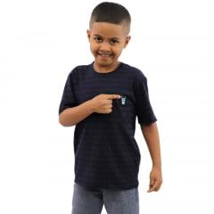 Camisa Infantil Azul Marinho Estampada Corte A Fio com Bordado Mascote Banana