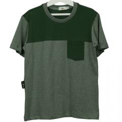 Camisa Infantil Verde Duas Cores com Bolso