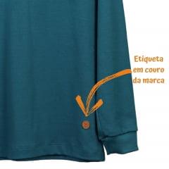 Camisa Infantil Manga Longa Verde Petróleo