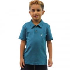 Camisa Polo Infantil Verde Petróleo Com Bordado Mascote Banana