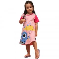 Camisola Infantil Rosa Estampa Mascote Banana Guarda Chuva